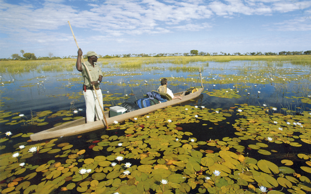 Im Mokoro unterwegs im Okavango-Delta