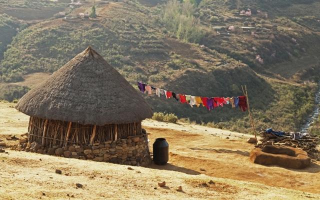Rundhütte der Basothos, Lesotho