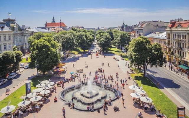 Aussicht vom Opernhaus in Lemberg